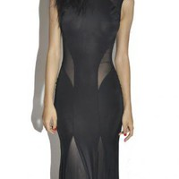 Black Maxidress with Side Mesh Cutouts