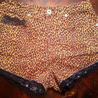 High waisted cheetah and lace shorts  by AngeliqueMerici on Etsy