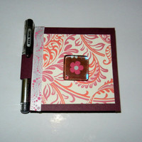 Floral Post It Note Holder with Magnet and Pen