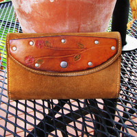 distressed leather and suede hand tooled wallet for women. distressed leather clutch. suede wallet for women.  southwestern clutch