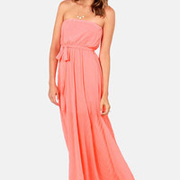 Flutter You Up Strapless Coral Maxi Dress