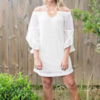 White Off The Shoulder Chevon Lace Dress