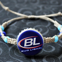 Bud Light Recycled Beer Cap Hemp Macrame Fully Adjustable Bracelet