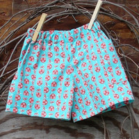 Baby Boys Shorts, Blue and red farm print 6, 12 and 18 months, tractors and barns