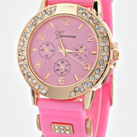 PINK JELLY BAND WATCH