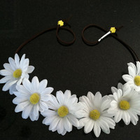White Daisy Flower Headband, Flower Crown, Flower Halo, Festival Wear, EDC, Ultra Music Festival, Ezoo, Coachella