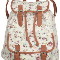 Canvas Backpacks Ivory Floral
