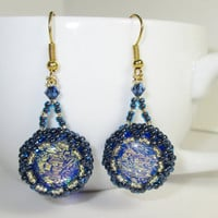 Earrings with 16mm Cobalt Blue and Gold Dichroic Glass Cabochons