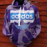 diy customised puple acid wash adidas hoodie size small from mysticclothing