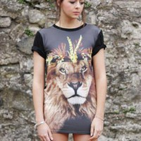 T-shirt Dress Tunic In Lion Print from LittleByLittle
