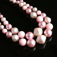 SALE - Vintage Beaded Pink Necklace - Two Strand Layered Bead 1950s Costume Jewelry / Graduated Bubblegum PinkLayers