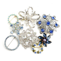 Vintage Brooch Lot - 8 Gold & Silver Tone Costume Jewelry Pins / Blue Accessory Collection