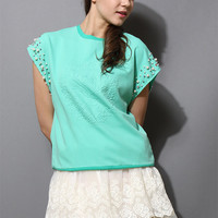 Pearly Floral Embossment Green Top