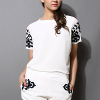 White Embroidery Top and Shorts Set