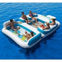 """New Giant Inflatable Floating Island 6 Person Raft Pool Lake Float 15'-8""""x 9'-4':Amazon:Sports & Outdoors"""