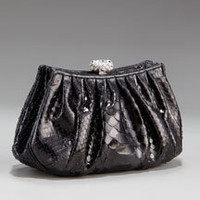 New Bean Python Clutch, Black