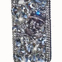 Skulls Swarovski & Czech Crystal with Rivets Studs BLING Handmade Punk Crystal Iphone 4/4S case/cover by Jersey Bling (BLING BLING Skull)
