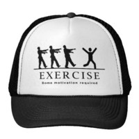 Zombie Exercise Trucker Hats from Zazzle.com