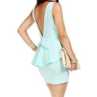 Mint Bow Back Peplum Dress