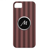 Two-Toned Maroon Stripe Monogram Cover for iPhone5 iPhone 5 Cover from Zazzle.com