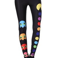 Amazon.com: Romwe Women's Classic Game Colorful Pac-Man Print Spandex Leggings: Clothing