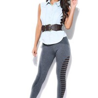 Amazon.com: Heather Gray Strips Paneled Leggings: Clothing