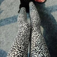 Melody Women Popular Full Leopard Print Animal Pattern Ankle Length Footless Legging Tregging Tight Pant FFL043 Black+White One Size
