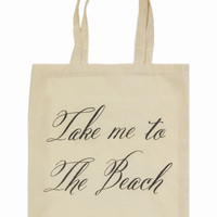 TAKE ME TO THE BEACH TOTE BAG at Wildfox Couture in  - CREAM