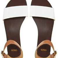 ASOS FLOCK Leather Flat Sandals at asos.com