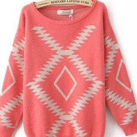 Light Red Vintage Diamond Sweater