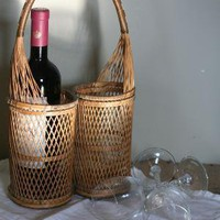 Vintage Wine Basket by suesuegonzalas on Etsy