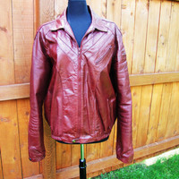 vintage Bermans red/burgandy leather bomber style jacket. size 46L made in Korea. red leather bikers jacket. Starsky and Hutch