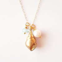 Gold Seashell Charm Necklace - Gold Shell Charm Necklace Mermaid Necklace Beach Bridal Necklace Beach Bride Necklace Beach Wedding Necklace