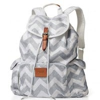 Victoria Secret PINK BackPack Schoolbag Sequin White Chevron