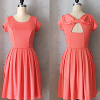 HOLLY GOLIGHTLY CORAL - Pink orange dress with pockets // pleated skirt // back cut out // bridesmaid // vintage inspired // party // day