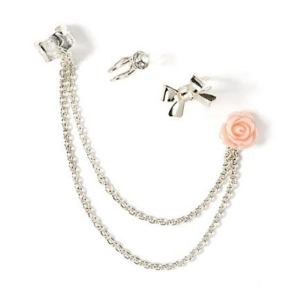 Cute Silver Ear Cuffs with Rose Stud from claire's