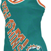 Miami Dolphins Women's Aqua Cheer Tank Top