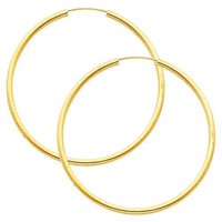 14K Yellow Gold 2mm Thickness High Polished Large Endless Hoop Earrings (1.8&quot; or 45mm Diameter)