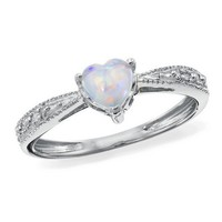 P4, Lab-Created Opal and Diamond Ring