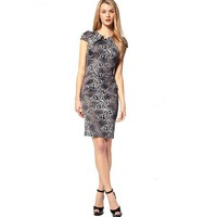 Bqueen Fitted Dress In Snake Print Satin K175E - Designer Shoes|Bqueenshoes.com