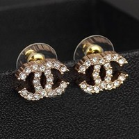 Angel Stars Gold Plated Australian Crystals Double C CC Small Stud Earrings