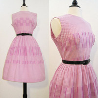 50s Dress Vintage Cotton Day Dress Purple Gingham L XL