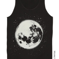 The Moon Full Moon Lunar Charcoal Black Art Singlet Vest Tunic Tank Top Sleeveless Shirt Women Indie Punk Rock T-Shirt Size S-M