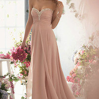 2013 New Long Strapless Sweetheart Chiffon Prom Dress Ball Gown Party Evening