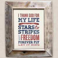 Chicken Fried - 8x10- Rustic - Vintage Style - Typographic Art Print - Country Song Lyrics