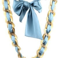 "Ranjana Khan ""Chain Reaction"" Plastic Chain Blue Silk Necklace"