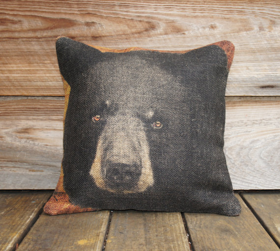 Bear Throw Pillow Covers : Burlap Pillow Cover of Black Bear, Throw from TheWatsonShop on