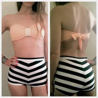 Black, White, and Peach Vintage High Waisted Bathing Suit