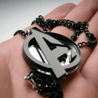 Avengers Necklace , Laser Cut Black and Mirror Avengers Logo  Pendant Necklace - Sale 30 %
