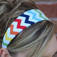 Chevron Headband, Multicolor Chevron wide band, womens hair accessory, fabric covered headband with genuine suede